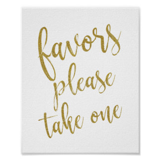 Favors Please Take One Glitter 8x10 Wedding Sign