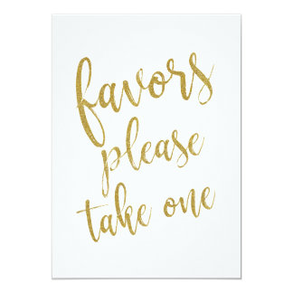 Favors Please Take One Gold Affordable Sign Card