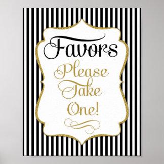 Favors Sign Black Gold Stripe