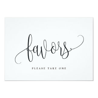Favors Sign - Lovely Calligraphy Card