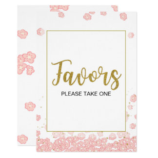 Favors Sign | Pink and Gold Bridal Shower Card