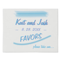 Favors Table Sign Minimalist Soft Ambiance Blue