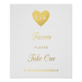 Favors Wedding sign, faux gold heart Poster