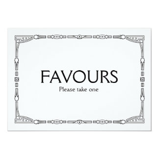 """Favours"" Art Deco Style Wedding Sign Card"