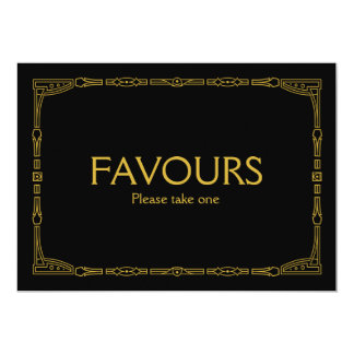"""Favours"" Gold Art Deco Style Wedding Sign Card"
