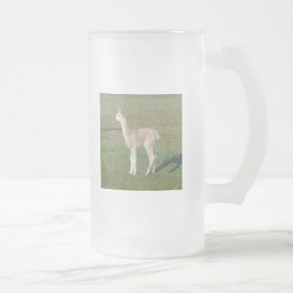 Fawn alpaca cria frosted glass beer mug