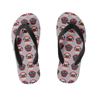 Fawn and Black Pug Heads Kid's Flip Flops