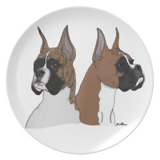 Fawn and Brindle Boxer Plate Digital Art