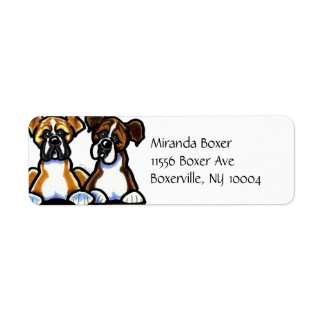 Fawn and Brindle Boxer Simple Label