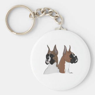 Fawn and Brindle Boxers Basic Round Button Keychain