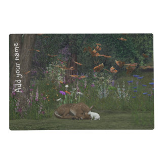 Fawn and Rabbit in the woods and Three Bears Laminated Place Mat