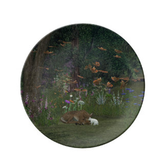 Fawn and Rabbit in the woods Porcelain Plates