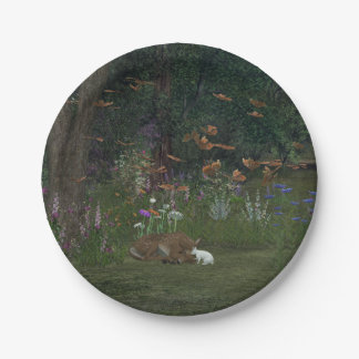 Fawn and Rabbit in the woods 7 Inch Paper Plate