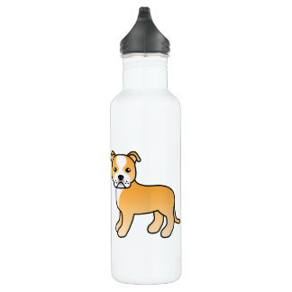 Fawn And White Staffordshire Bull Terrier Water Bottle