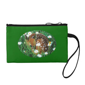 fawn and wildflowers coin wallet