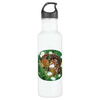 fawn and wildflowers stainless steel water bottle