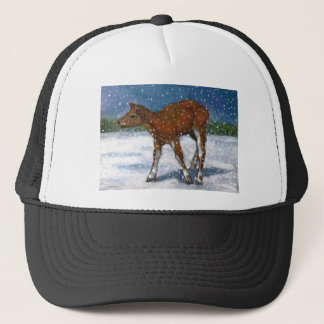 Fawn, Baby Deer in Snow Squall: Art in Pastel Trucker Hat