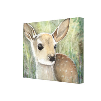 Fawn Baby Deer Wildlife Painting Stretched Canvas Prints