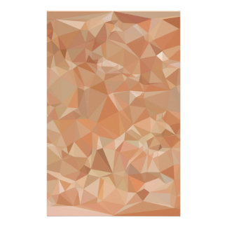 Fawn Brown Abstract Low Polygon Background Stationery