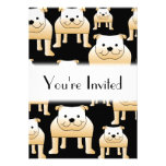 Fawn Bulldogs on Black. Custom Invite