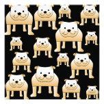 Fawn Bulldogs on Black. Custom Invites