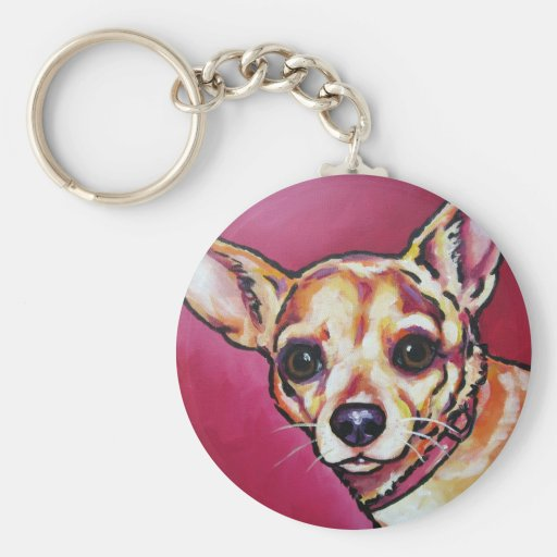 Fawn Chihuahua 2 Basic Round Button Keychain