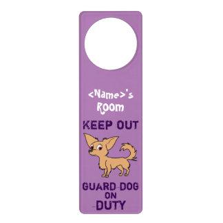 Fawn Chihuahua Guard Dog on Duty Door Knob Hangers