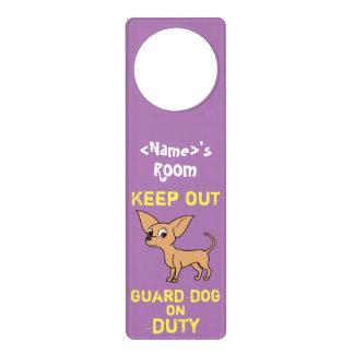 Fawn Chihuahua Guard Dog on Duty Door Hanger