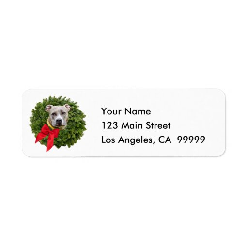 Fawn Colored PitBull in Christmas Wreath & Red Bow Custom Return Address Label