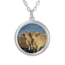 Fawn Coloured Highland Cows, Silver Plated Necklace