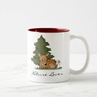 Fawn Deer Art Cartoon Drawing Forest Tree Nature Two-Tone Coffee Mug