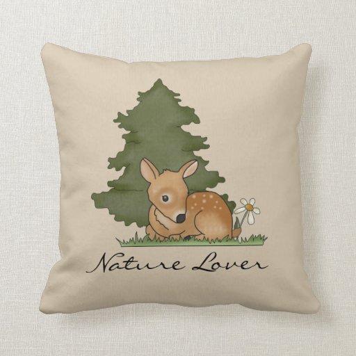Fawn Deer Forest Cute Art Cartoon Drawing  Nature Throw Pillows