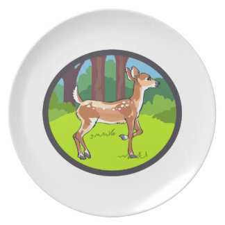 FAWN DEER FOREST PARTY PLATE