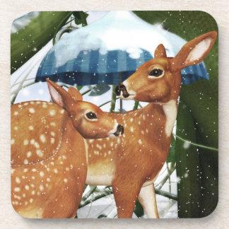 Fawn Deer in Winter Scene Coasters