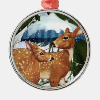 Fawn Deer in Winter Scene Silver Round Ornament