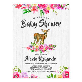 Fawn Deer Watercolor Floral Baby Shower Invitation Postcard