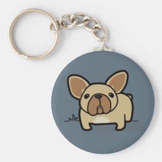 Fawn Frenchie Basic Round Button Keychain
