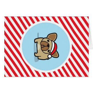 Fawn Frenchie on Candy Cane Stripes Card