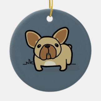 Fawn Frenchie Double-Sided Ceramic Round Christmas Ornament