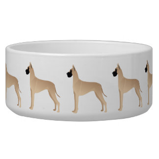 Fawn Great Dane Dog Breed Illustration Silhouette Bowl
