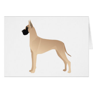 Fawn Great Dane Dog Breed Illustration Silhouette Card