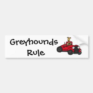 Fawn Greyhound Dog Driving Red Convertible Bumper Sticker