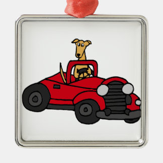 Fawn Greyhound Dog Driving Red Convertible Christmas Tree Ornament