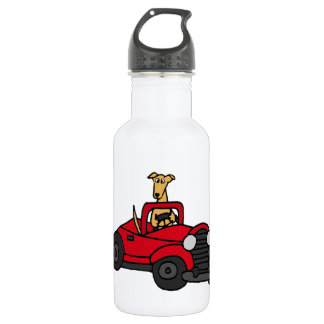Fawn Greyhound Dog Driving Red Convertible 18oz Water Bottle