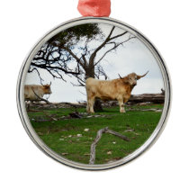 Fawn Highland Cow, Metal Ornament