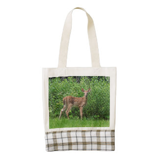 Fawn in front of a fence zazzle HEART tote bag