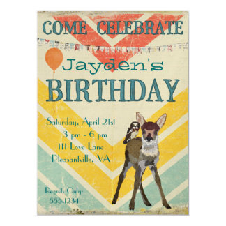 Fawn & Owl Chevron Birthday Invitation