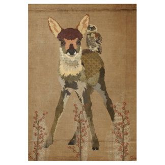 FAWN & OWL FLORAL POSTER