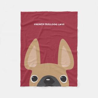 Fawn Peeking French Bulldog Love Fleece Blanket