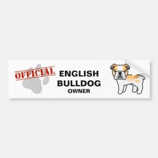 Fawn Piebald Cartoon English Bulldog Bumper Sticker